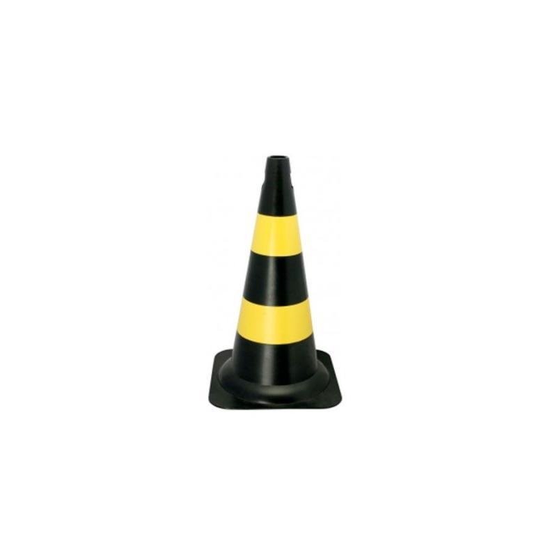 Cone Sinalização 50 cm Preto e Amarelo