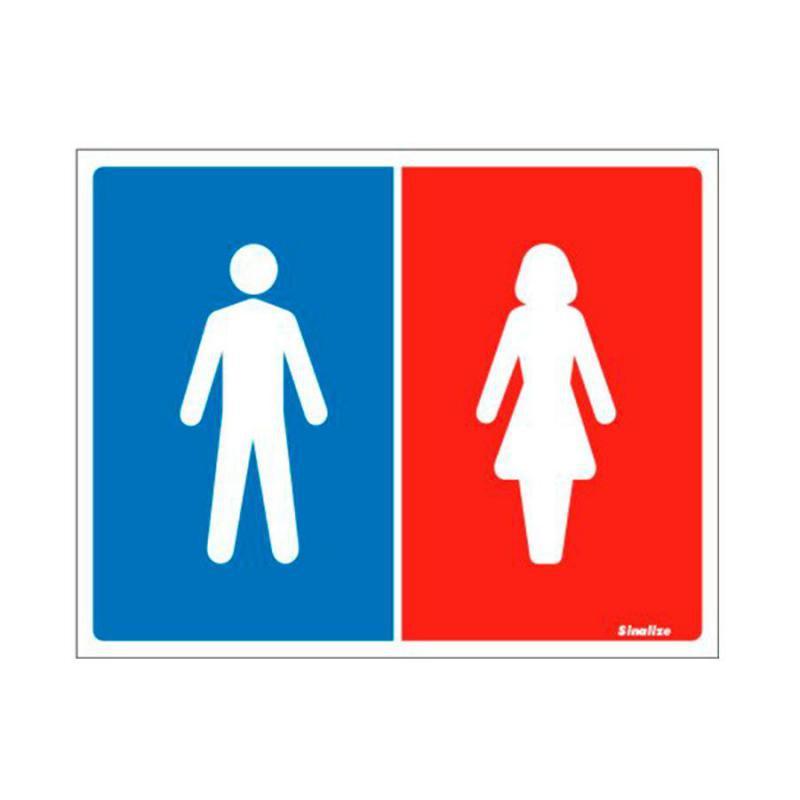 Placa de Aviso Banheiro Masculino Feminino Poliestireno 15 x 20 cm