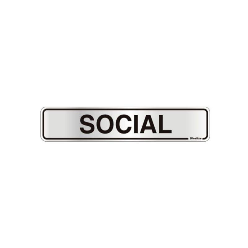 Placa de Aviso Social Alumínio 5 x 25 cm