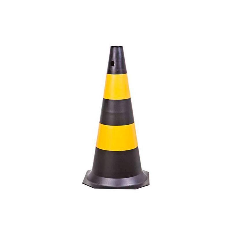 Cone Sinalização 75 cm Preto e Amarelo