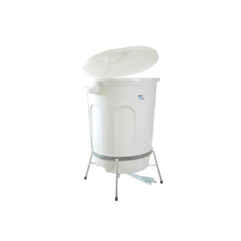 Lixeira Branca com Suporte de Pedal em Aço 60 litros