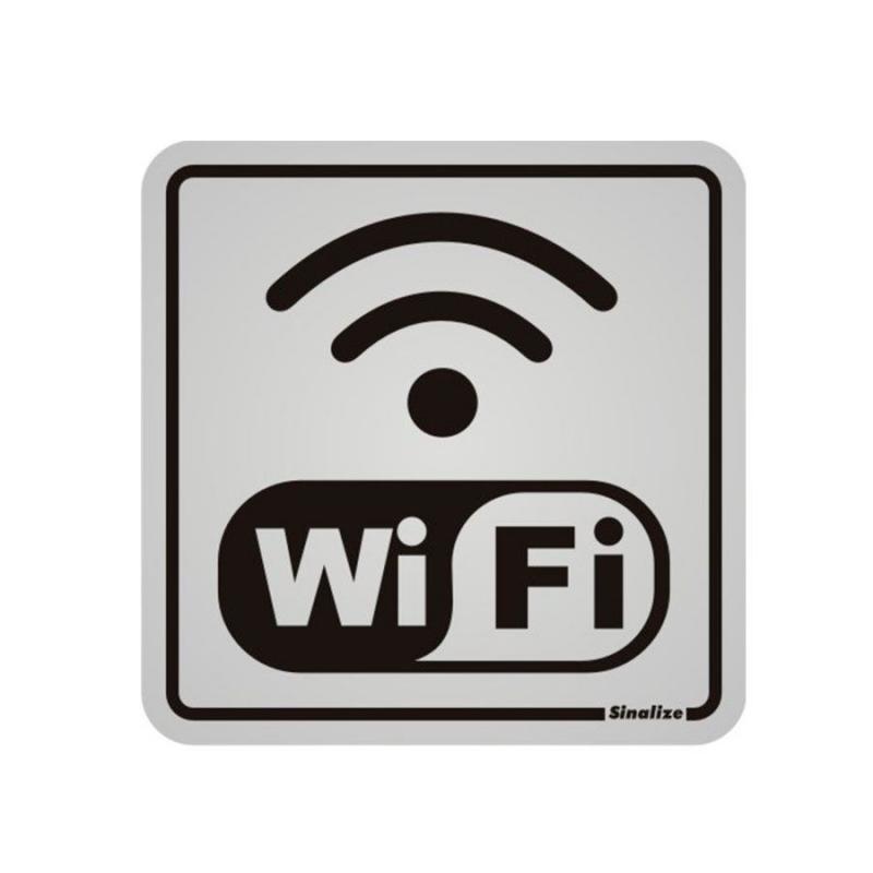 Placa de Aviso Wifi Alumínio 12 x 12 cm